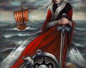 Six of Swords Tarot Viking pagan Original fine pastel artwork