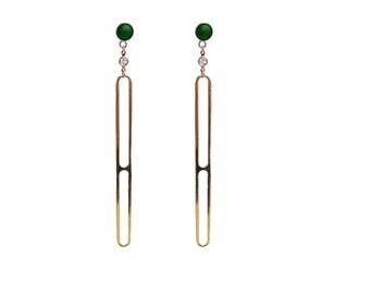 Gold Vermeil Malachite Dangle Earrings
