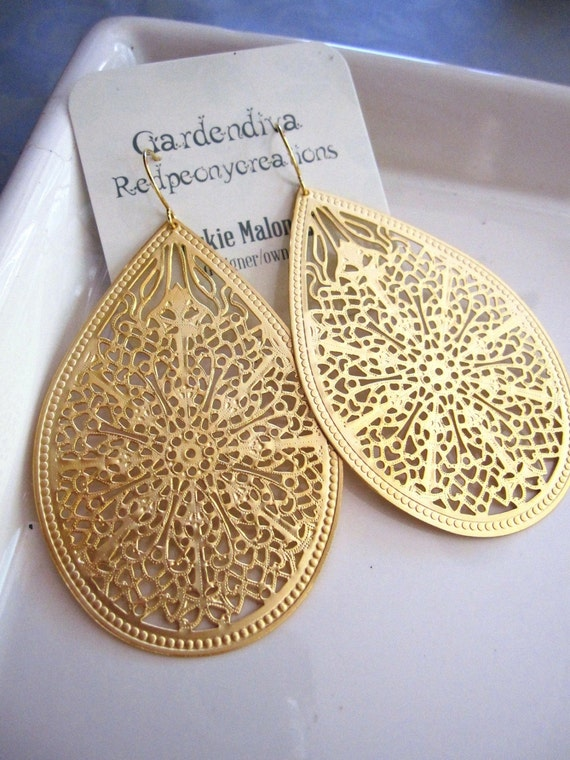 Extra Large Gold Chandelier Earrings Gold Patterned Filigree