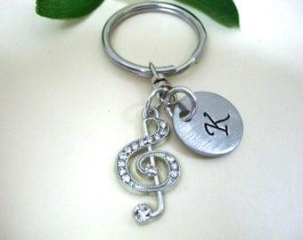 SUPER SALE Treble Clef Keychain - Treble Clef Keyring - Treble Clef Earrings - Music Keychain - Music Earrings - Initial Keychain - Charm Ke
