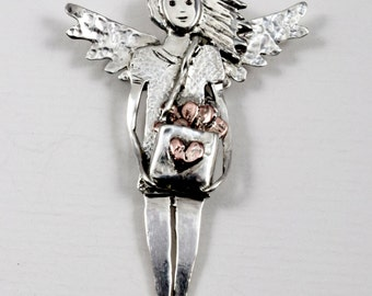 Sterling Angel Jewelry Pendant - Angel Klare Mends Hearts - Robin Wade Jewelry - Mending Broken Heart - Empowerment Jewelry Pendant - 2157