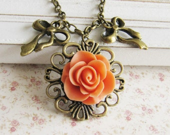 Orange flower charm necklace, vintage style jewelry, bow necklace, bronze, for her, bronze, Europe