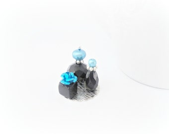 12th One Inch Scale Doll House Miniature Perfume Bottle Ladies Vanity Set Blue and Black