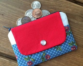 Sale - ID Card Holder Wallet - Small Womens Wallet - Minimalist Coin Purse - Zipper Pouch - Slim Pocket Sized Coin Purse - Girl's Wallet
