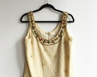 Vintage Cream Jeweled Tank, Angora Lambswool Vest, Sleeveless Sweater