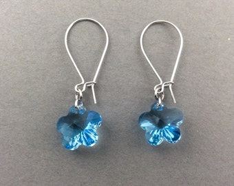 Crystal Earrings Silver Earrings With Aquamarine Flower Swarovski Crystals