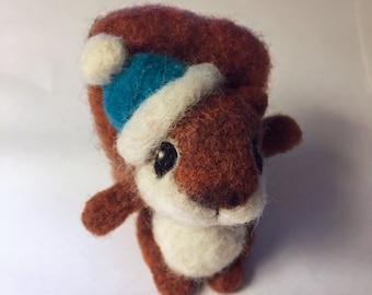 Squirrel with Wool Hat / Felted Soft Sculpture / Chipmunk / Forest Friend / Ornament / Figurine
