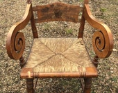 Antique Hitchcock Arm Chair, Pillow Back, Scrolled Arms, Rush Seat, Dining Chair, Antique Furniture
