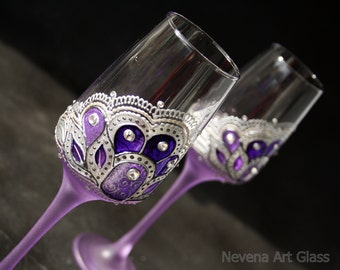 Champagne Glasses, Wedding Glasses, Wine Glasses, Purple Glasses, Violet Wedding, Hand Painted, Set of 2