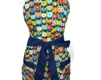 Classic Apron for women, Multi color flowers, Navy ties, bridal shower gift, Christmas gift, optional monogram, gifts for mom, cute