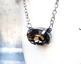 Minimal Crystal Necklace - Silver Layering Necklace - Minimal Solitaire Necklace - Short Layering Necklace - Crystal Choker Necklace