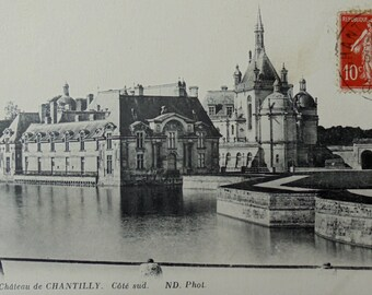 French Vintage Postcard - Chantilly Château, Oise, France