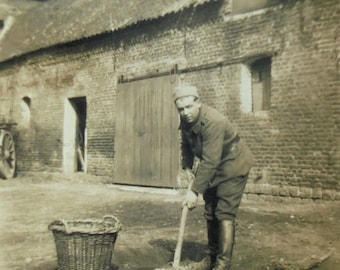 Vintage Photo - Soldier Cleaning Up a Farmyard