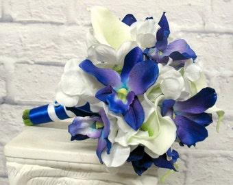 Bouquet Bridesmaid bouquet - Blue orchid calla lily wedding bouquet, Something blue silk wedding flowers