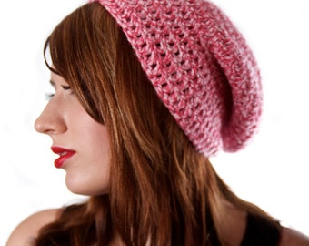 Pink Womens Beanie Crochet Winter Hat Twisted Pink Hat Slouchy Hat Women Pink Slouchy Hat Long Beanie