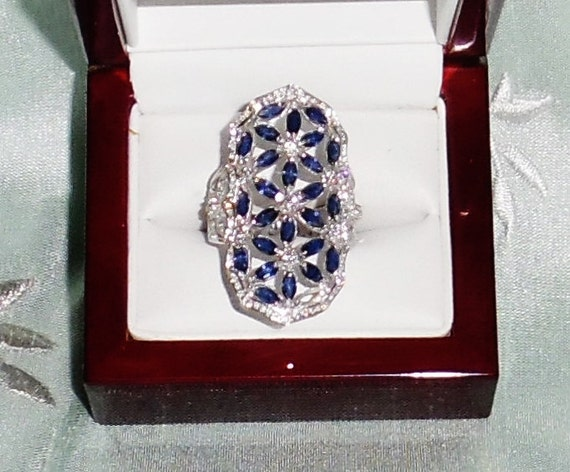 42 TCW Natural Blue Sapphire gemstones, Brilliant CZs, 14kt White gold Ring Size 7 1/2