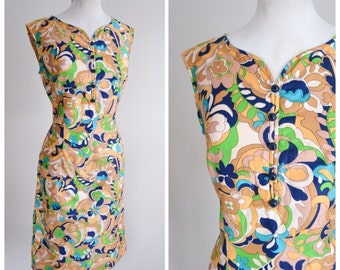 1960s Psychedelic print cotton fitted shift dress / 60s printed day dress - M