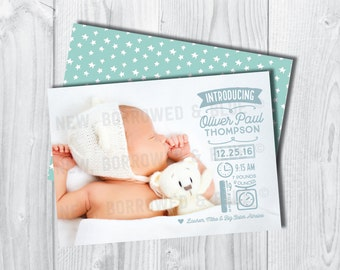 Printable Double-Sided Modern Icon Birth Announcement