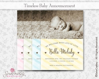 Timeless Baby Birth Announcement - 5 x 7 - Digital Download - Printable - Photo - Personalize