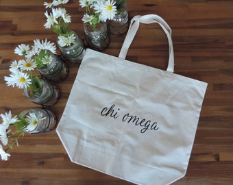 New Chi Omega Basic Cursive Canvas Natural Tote Bag