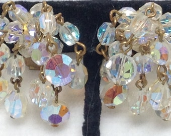 Crystal Bead Earrings, Aurora Borealis, Clip, Vintage