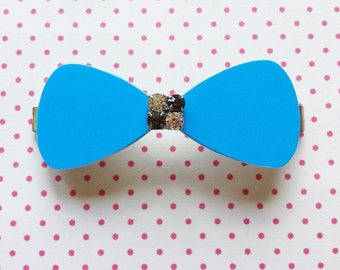 Sky blue bow hairclip made of recycled credit card great gift eco friendly - free shipping