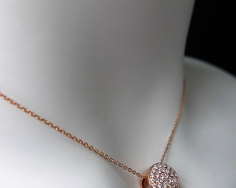 Diamond Circel Pendant in 18K Rose Gold