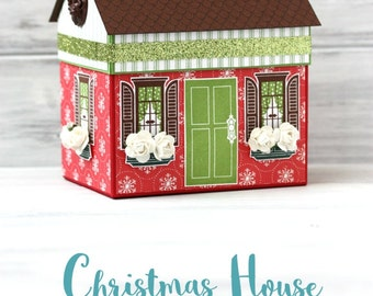 Christmas Party Gift Box - Handmade Paper House - Christmas Gift Wrap -  Holiday Hostess Gift - Sparkly Green  - Housewarming - Packaging