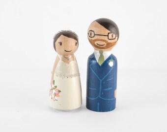 Cute Cake Topper - cute wedding cake topper - wooden pegs, couple wedding cake topper - wooden people - custom peg people cake topper