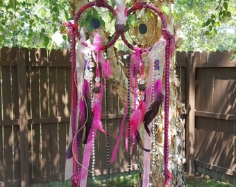 Colorful Pink Owl Dream Catcher with beads, feathers, and ribbon