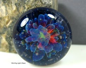 24mm Large Lampwork Cabochon - Boro Glass - Purple Star Flower- Jewelry Making Supply