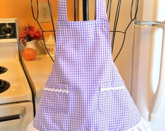 Toddler Little Girls Gingham Check Apron in Lavender MADE TO ORDER