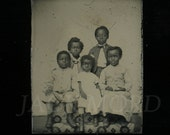 Remarkable & Very Rare 1860s Miniature Tintype Photo of Black Children ~ Freed Slaves or..?