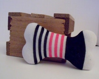 Dog Bone Made from White Pink and Black Striped Sock, Dog Toy Made in The Shape of a Bone Using a Hot Pink White and Black Patterned Sock