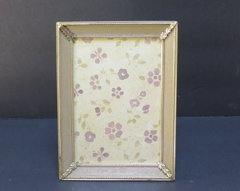 Mid Century Chic Vintage 5 x 7  Brass and blonde Wood Picture Frame Easel Back