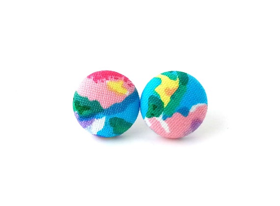 Bright button earrings - colorful fabric earrings - rainbow stud earrings - gift for girlfriend - blue yellow pink green