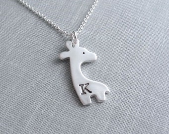 Personalized Giraffe Necklace, Monogram, Initial, Fine Silver, Sterling Silver Chain, Made To Order