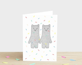 Bears Confetti Greetings Card -  wedding engagement valentines day Christmas birthday new baby thank you polar bears white black grey gray