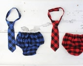 Christmas Holiday Buffalo Plaid Diaper Cover & Necktie Tie.  Checked Gingham in Red Black or Blue Black. Newborn Baby Boy Coming Home Outfit