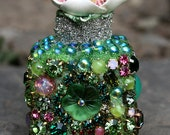 Miniature Jeweled Bottle Vintage Rhinestones Embellished Altered Art Greens and Pink Original Art Decor for the Garden Lover Gift for Her