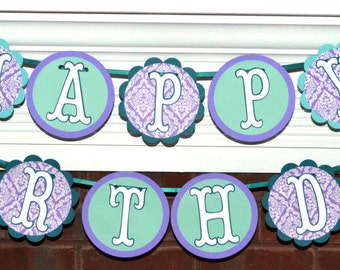 Little Mermaid Birthday Banner READY TO SHIP Mermaid Banner Purple Teal Mermaid Party Banner Under The Sea Party Mermaid Party Decoration