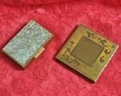Vintage Makeup Powder Compacts/Antique Mid Century 40s 50s/2 Piece Dresser Decor/Cosmetics Mirror/Sparkle Lucite Metal Square Rectangle