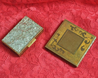 Vintage Makeup Powder Compacts/Antique Mid Century 40s 50s/2 Piece Dresser Decor/Cosmetics Mirror/Sparkle Lucite Metal Square Rectangle