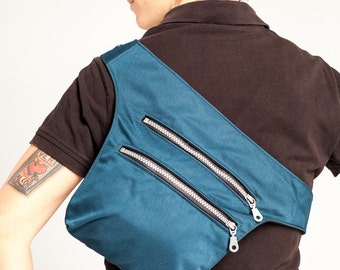 Blue Fanny Pack/Messenger Bag/Utility Small Messenger/Urban Cycling