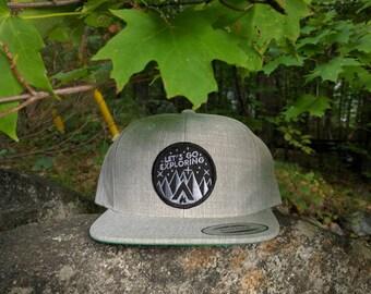 Let's Go Exploring - snapback hat - Heather Grey