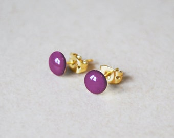 Enamel Stud Earrings – 14K Gold Filled or Sterling Silver Studs