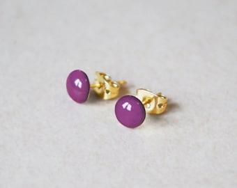 Enamel Stud Earrings – 14K Gold Filled or Sterling Silver Studs