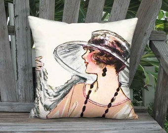 Pillow Cover - Pillow - Melon French Fashion French 1920s Hat Pillow - 16x 18x 20x 22x 24x 26x 28x Inch Linen Cotton Cushion Cover