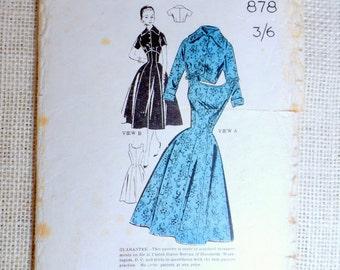 Vintage Pattern Paulette 878 New Zealand Sewing pattern 1950s full skirt dress Bust 35 Rockabilly Gored Bolero sleeveless
