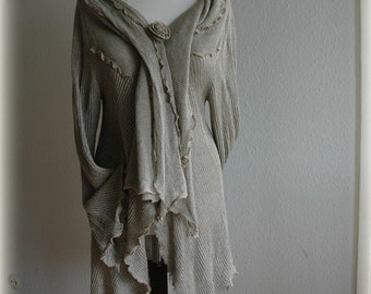 Grey Asymmetrical Cardigan Knitted LINEN Natural Eco Friendly Sweater Wrap Clothing Linen Sweater Unique Fashion Natural M - L Size